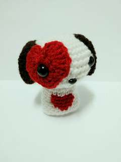 Handmade Crochet Dog Toy with Heart Patch