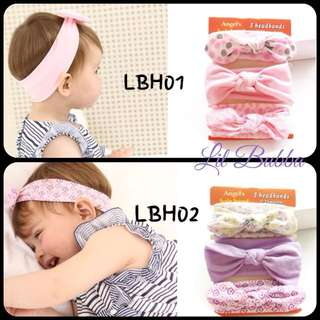 [Ready Stock] 3pcs Baby Headband, Stretchy Fabric Material 0-24months