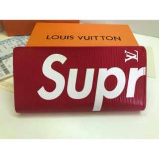 [Ready Stock] Supreme LV Long Wallet Red Colour Casual Men