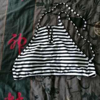 Stripped Strapped Bikini Top