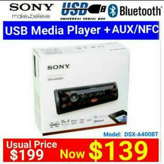 SONY Car Stereo A400BT Digital Media Receiver with Bluetooth/NFC + AUX/USB.  Model:DSX-A400BT. Usual Price: $199 Special price: $ 139 (Brand new in box & sealed)  whatsapp 85992490 to pick up Today.