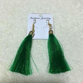 Tassel Earrings in deep green