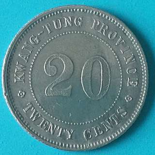 China Republic Kwangtung Province Silver Coin 20 Cent Year 1921 sale 30%