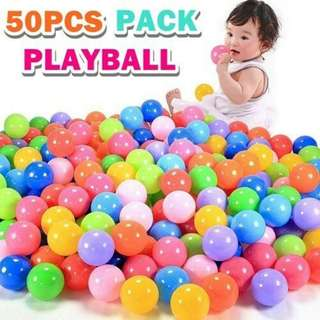 50PCS PACK PLAYBALL  DETAILS Diameter:7cm  Material: PE Made of lightweight plastic Decorated in bright colors for fun, visually stimulating play Can be used to fill ball pits, kiddie pools, or other containers Durable design resists crushing