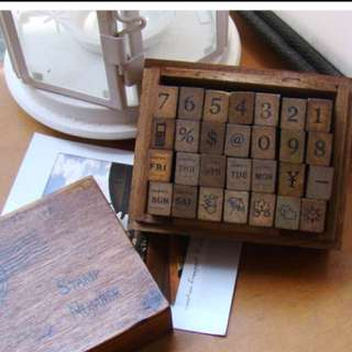BN Number Stamp In Vintage Wooden Box