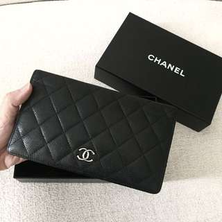 AUTHENTIC CHANEL Caviar Bifold Long Wallet