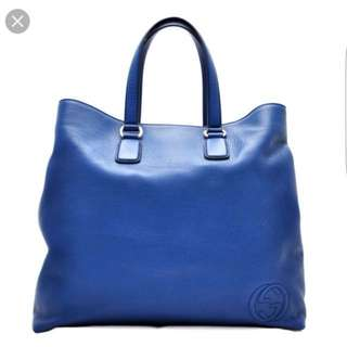 Gucci Large Blue Leather Tote Bag