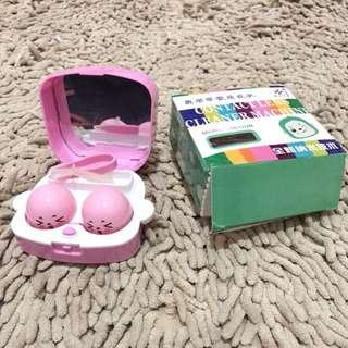 Cleaner contact lens steamer softlens pembersih softlens pink