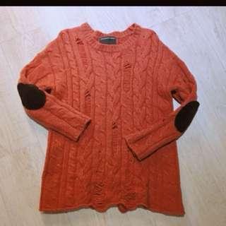正韓橘紅超厚保暖毛衣 含運費