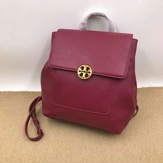 Tory Burch Leather Chelsea Shoulder Backpack Maroon