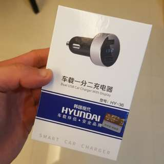 Hyundai Dual Port 4.8A Fast Charger with Display for Car