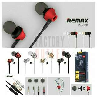 Authentic Remax Original Stereo Earphone Model: RM 610D Brand New Factory Seal Wrapped BNIB