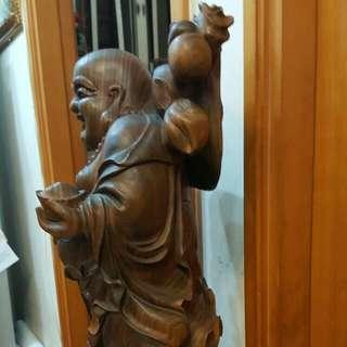原木雕像,笑臉佛