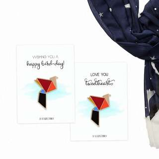 Mini Greeting Card and Enamel Pin - Valentines and Birthday Gift Present, Metal Enamel Pin