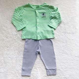 CARTER'S 2-Piece Snap-Up Green Top Pants Set