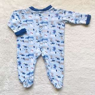 BABY GEAR Snap-Up Cotton Blue Dogs
