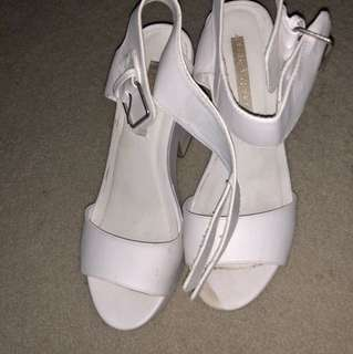 White chunky heels Size 10