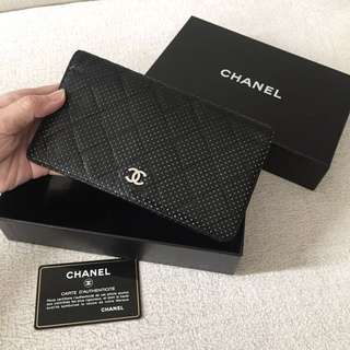 AUTHENTIC CHANEL Perforated Bifold Long Wallet