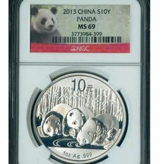 2013 Silver Chinese Panda 1 oz - MS-69 NGC