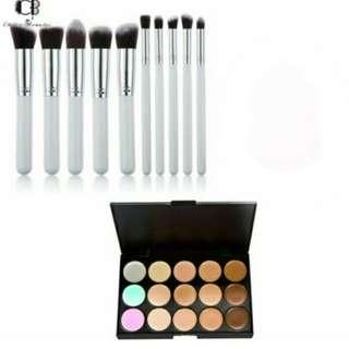 10 Pcs Brushes Set (White&Silver) and 15 Color Concealer Palette