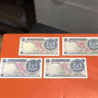 Singapore Old Notes $1 Orchid