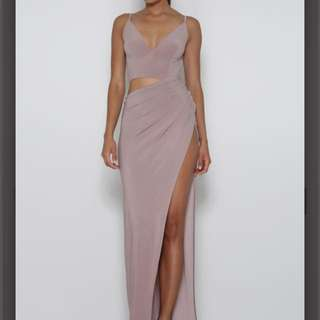 ABYSS BY ABBY cut out gown - Taupe