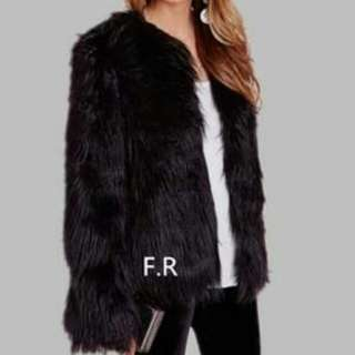 Faux Fur Coat/Cardigan (Black)