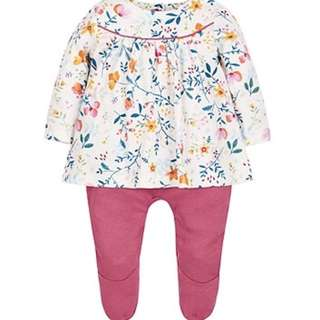 Brand New Mothercare Floral Mock Blouse All in One Size 6-9 months