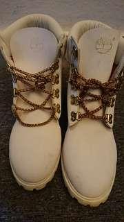 White Timberland Chain Lace