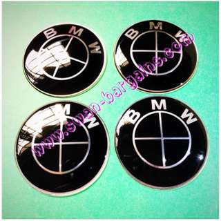 4pcs 65mm Universal Black BMW Logo Sports Rim Wheel Hub Center Cap Cover Decal Trim Set