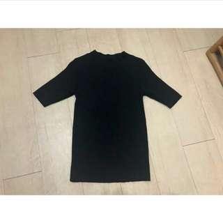 五分袖黑色針織上衣