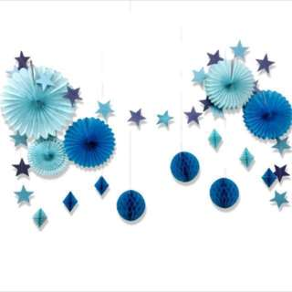 15pieces blue birthday party set