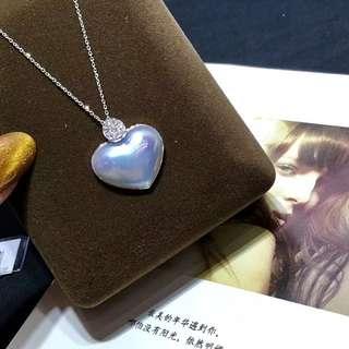 星空🎇藍心形馬貝珍珠項鏈,22×18mm,18k金鑲嵌鑽石💎鏈子長度45cm,可調節。