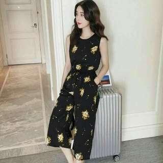 Black Floral Korean Jumpsuit