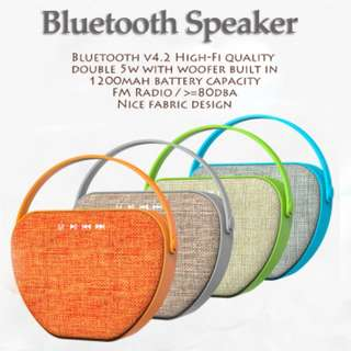 INSTOCKS New HIFI quality powerful bluetooth speaker. Two speakers, fabric on both front and back