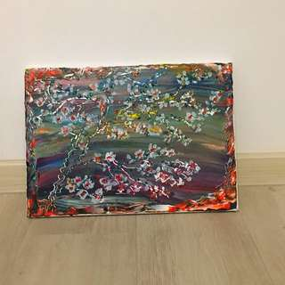 Acrylic painting - Flowers glass bed