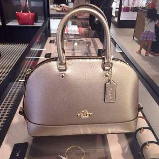 COACH MINI SIERRA SATCHEL IN METALLIC CROSSGRAIN LEATHER