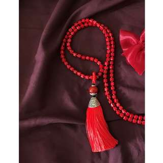 BN Tassel Beaded Necklace | Long Red Necklace | Red Tassel Pendant Necklace