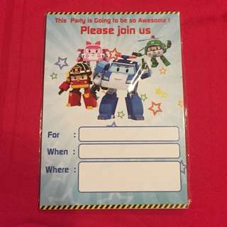 Robocar Poli Birthday Invitation