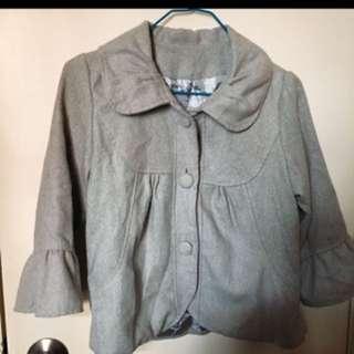 灰色荷葉袖毛呢西裝外套