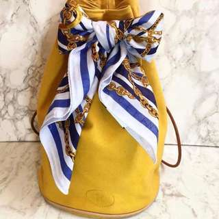 Hermes 芥辣黃色 水桶袋+ Celine絲帶