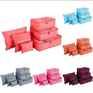 6 piece set travel bag organiser.