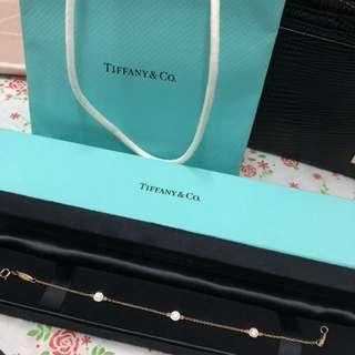 Tiffany 18k玫瑰金 鑽石手鍊