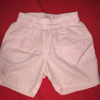 Miss Manai pink and white striped shorts  9 months