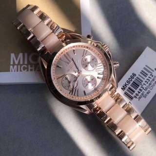 Mk Michael Kors rose gold with pink ladies watch