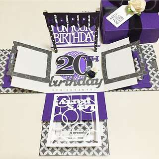 Happy 20th Birthday Explosion Box Card in Purple and black
