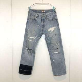 Levi's 501 XX淺藍刷色 手工破壞 牛仔褲