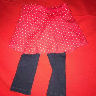 Mothercare Red polka dot skirt with leggings 9-12 month