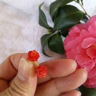 紅珊瑚銀托耳環
