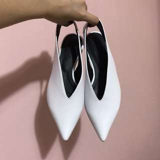 White Pointed Slingback